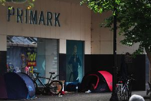 Unexpected sight - Tents have been erected on one of Harrogates busiest shopping streets outside the Primark store on Oxford Street.