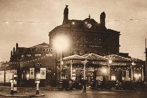 Written by Chris Bottomley and Allan W. Wood, the book features many of the shops, schools and pubs of Blackpool behind the seafront.'The old Central Station is pictured in all its glory with strings of bulb lighting in a atmospheric night image.