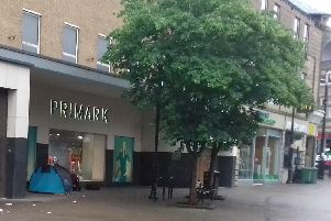 One of the tents street beggars have erected at the back of Primark Store on Oxford Street in Harrogate.