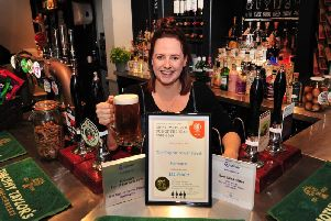 The Tap on Tower Streets Kayleigh Thompson with the Harrogate pubs recent awards.