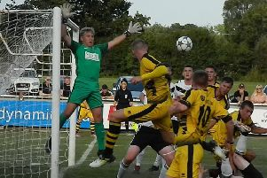 Goalmouth action in the game against Euxton Villa v Colne