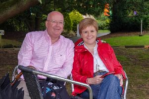 Pictured in Harrogate today - Scottish First Minister Nicola Sturgeon with her husband Peter.