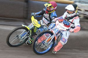 Lasse Bjerre on the outside of Mikkel b Andersen ht 3