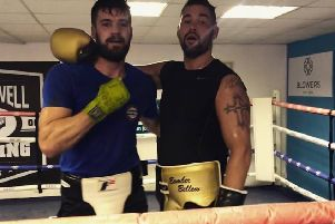 Derbyshire's Joss Paul and Tony Bellew, after sparring