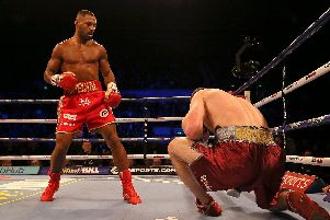 Sergey Rabchenka is knocked down in Round 2 in Kell Brook's last fight.