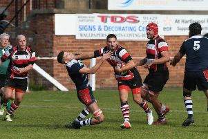 Hartlepool Rovers RFC (red/white/black) in action.