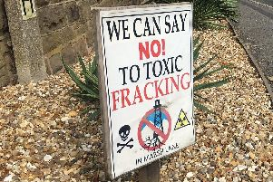 An anti-fracking sign in Eckington
