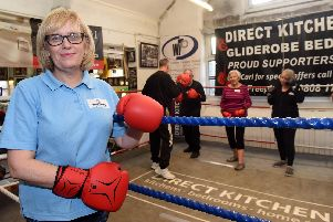 Karen Hodgson runs a boxing session for people with Parkinson's.