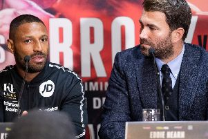 Kell Brook and Eddie Hearn and today's press conference. Picture By Mark Robinson.