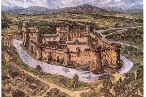 Kenneth Steel's oil paintiing of what Sheffield Castle would have looked like in the 16th century