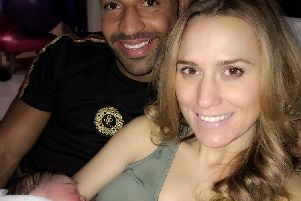 Kell Brook, wife Lindsey Myers and baby Vienna.