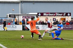 South Shields' David Foley scores his second goal of the afternoon against Whitby Town. All pictures by Kev Wilson.