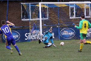 Jordan Slade scores the winner for Town against Feniscowles''Pictures: Peter Naylor