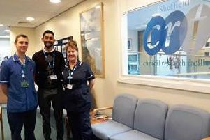 Dr Imran Aziz (centre) who is running the TRITON trial in Sheffield with Amanda Cresser-Myers, Team Leader and Liam Haslam, Research Charge Nurse at the Sheffield National Institute for Health Researchs Clinical Research Facility where the study is being run.