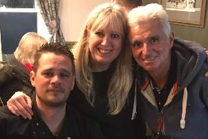 Luke Bibby, Claire Sowden and Richard Smith (landlord of the Cross Keys).