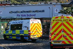 Police outside Fir Vale School in September 2018.