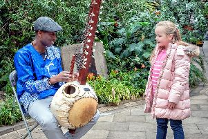 Kora player Kadialy Kouyate plays in the Winter Garden to promote the Classical Weekend in Sheffield