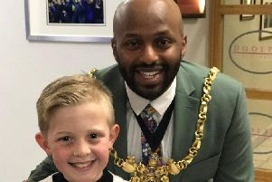 Shay O'Grady, pictured with the Lord Mayor of Sheffield Coun Magid Magid.