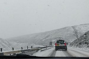 Snow on the A57 Snake Pass this morning. Picture: @itsnoel