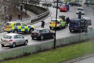 Armed police stop a car in on St Mary's Road, Sheffield. Picture: Tom Leighton