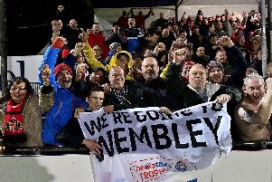 Sunderland fans celebrate the Checkatrade Trophy semi-final victory at Bristol Rovers.