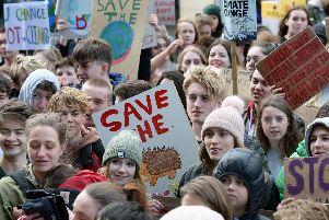 Sheffield Students protesting outside Sheffield Town Hall against the destruction of their future........Pic Steve Ellis