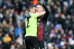 Sheffield United goalkeeper Dean Henderson (right) and Sheffield United's John Egan celebrate the 1-0 win at Elland Roa