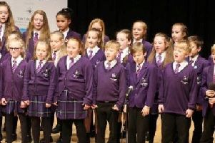 The choir from St Mary Magdalene's RC Primary in full flow at the Last Choir Standing competition.