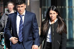 Fernando Forestieri leaves Mansfield Magistrates' Court with his wife after his not guilty verdict on Thursday.