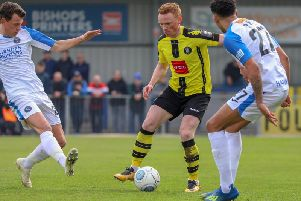 Michael Woods in action for Harrogate Town against Havant & Waterlooville. Picture: Matt Kirkham