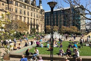 Peace Gardens, Sheffield city centre.