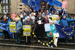 A rallying cry for a Peoples Vote on the steps of Sheffield Town Hall at the launch of Sheffield for Europes leaflet linked to the European Parliamentary elections on 23 May