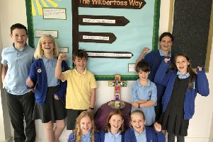 Pupils at Wilberfoss CofE Primary School celebrate the great SIAMS inspection.