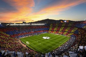 BARCELONA, SPAIN - MAY 01: (EDITORS NOTE: Images is a digital [panoramic] composite.) A general view of the tifo display before the UEFA Champions League Semi Final first leg match between Barcelona and Liverpool at the Nou Camp on May 01, 2019 in Barcelona, Spain. (Photo by Michael Regan/Getty Images)