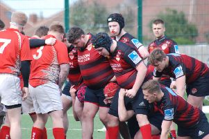 South Shields get ready to stand their ground in a scrum against Seaham. Picture by Michael Elsy.