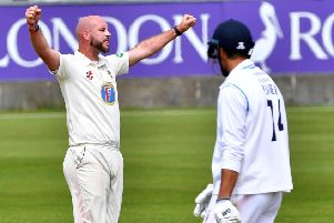 Chris Rushworth celebrates the final wicket, dismissing Duanne Olivier. Pictures by Frank Reid