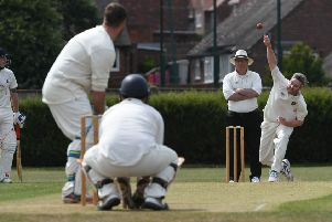 Ryhope bowler David Craig delivers a ball to Boldon's Gray Frater at Ryhope Welfare Park. Picture by Kevin Brady.