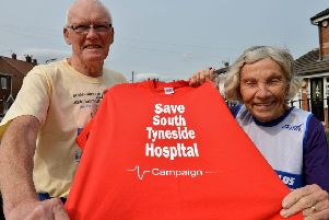 Great North Runners Ruth and Charles Anderson, who are supporting the campaign to protect services at South Tyneside District Hospital.