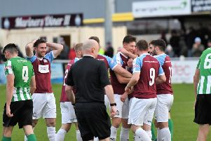 South Shields celebrate David Foley's stunning goal