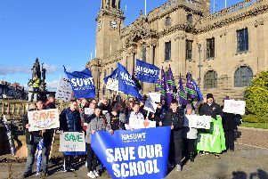 Protesters campaigning against the closure of South Shields School.