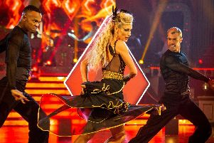 Faye Tozer dances at Blackpool. Picture: Guy Levy/BBC/PA.