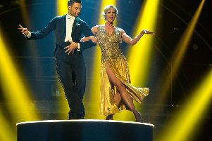 The pair as they performed the couple's choice routine. Guy Levy/BBC/PA Wire.