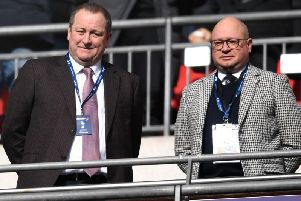 Mike Ashley and Lee Charnley at Wembley.