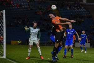 Tom Denton in action for Chesterfield at FC Halifax Town