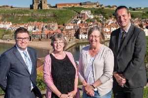 Eskdale head Andy Fyfe, Eskdale chair of governors Gillian Teanby, Caedmon chair of governors Pen Cruz and Caedmon College principal Simon Riley