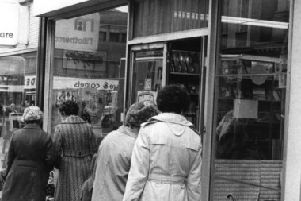 Shoppers outside T & G Allan's store in King Street in  May 1977