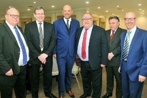 Ryder Cup winning captain Thomas Bj�rn (centre) was guest speaker at the Harrogate Business Luncheon; pictured with organiser Howard Matthews, Paul Varley of Lloyds Bank, Richard Darbyshire of sponsor Jelf Insurance, co-organiser Duncan Williams and interviewer Dave McIntyre.'080219