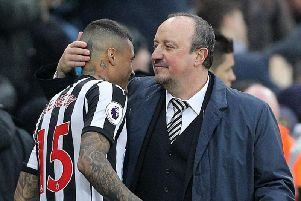 Newcastle boss Rafa Benitez with Kenedy last season, when the player's performance was one of the catalysts to survival.