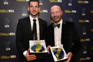 Martin Dubravka with Newcastle legend Alan Shearer after winning the North East Football Writers Association Player of the Year for 2018.