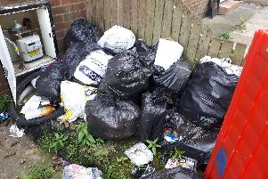 Waste which was accumulated at Bishop Crescent, Jarrow.